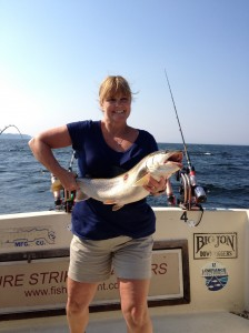 August 21 ,2013 Jill with her 13 lb. Lake Trout